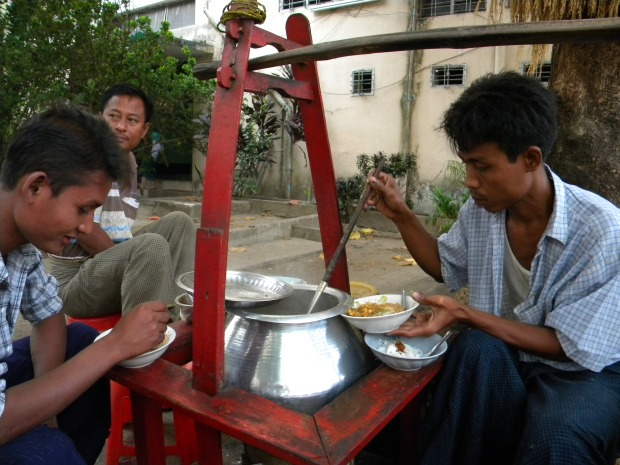 burmese noodles served for breakfast on street outside ymca